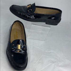 Ferragamo 8.5M Black Patent Leather Driving Loafer